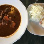三俣山荘の夕食は南アルプスのシカのシチュー。美味。