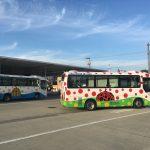 南瓜バスと赤南瓜バス(町営、大人100えん)