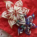 職場で習った、折り紙で作る雪の結晶(立体)