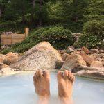 温泉沢にて、スキを突いて露天に突入ww
