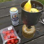 平地キャンプは初めてなので、とりあえずモロコシ茹でてみるw 美味しかったです