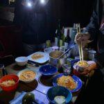 そして最後の夜はトマト味のクスクスにカニとバフンウニ、ムラサキウニの缶詰をのせて(ゼータクにもほどがある
